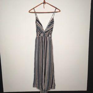 Lulu's Montara Striped Backless Midi Dress